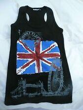 Punkyfish Union Jack Flag Ladies Girls Glitter Punky Fish Black Vest Top Size SM