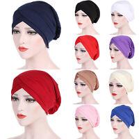 Women Frontal Cross Bonnet Hijab Turban Hat Chemo Cap Headscarf Headwrap