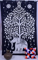 Indian Elephant Tapestry Tree of Life Boho Bed Sheet Hippie Gypsy Wall Hanging