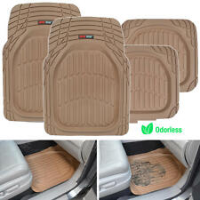 Motor Trend FlexTough 4pc Rubber Floor Mats - Thick Heavy Duty All Weather Beige