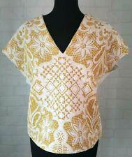 ZARA Basic White Mustard Yellow Top Size MEDIUM UK 10 Short Sleeved Summer- R101