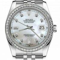 Rolex 26mm Datejust With custom Diamond bezel White MOP Mother Of Pearl 8 + 2 Di