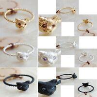 Cute Fashion Gold Silver Black Animal Crystal Eye Cat Ring Gift for Women/Girl