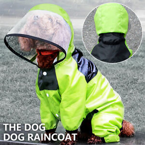 Waterproof Pet Hood Raincoat Dog Puppy Clothes Jacket Vest Rainwear w/ Hat Green