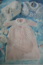 Christening Robe, Shawl, Bonnet and Bootees/Shoes Knitting Pattern