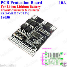 6S BMS PCB Protection Board 22.2V Li-ion Lithium 18650 Battery 6 Cell 10A 25.2V