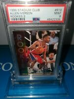 PSA 9 MINT ~Allen Iverson 76ers 1996 Topps Stadium Club Rookies 2#R16 RC HOF🔥🏀