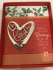 Love Christmas Ornament by Kathy Davis Art Heart New in Box but Writing on Box