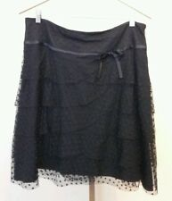 Teri Jon Rickie Freeman Black Tiered Lace Skirt Size 16