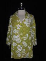 SUSAN GRAVER Plus Sz 1X Blouse Shirt Top Green White Floral 3/4th Sleeve Cotton