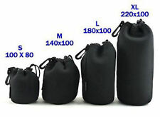 1X XL Black Neoprene Soft universal Lens Pouch + belt clip 10cmx22cm uk seller