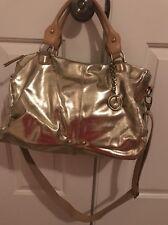 Charles Jourdan Paris Janet TZ Satchel Gold Leather MSRP 425.00