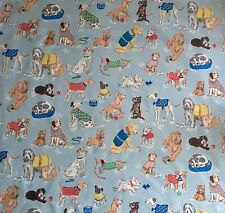 FQ 50cm Square Cath Kidston Dogs on Blue Lightweight cotton fabric new
