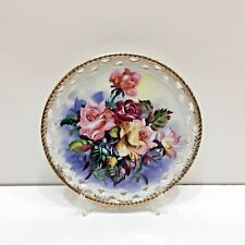 "UCAGCO Signed Hand Painted Lattice Guilded Edge Roses Plate 8"" D Japan Gift"