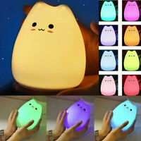 Mini Silicone Night Light Cute Cat Table Lamp Creative Safety 7 Colors Room Gift