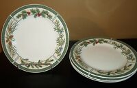 """(4) Fairfiled WINTERGREEN 10 1/2"""" Dinner Plates  Christmas  Pinecones Holly"""
