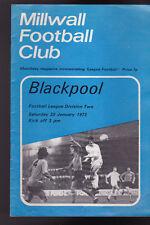 Millwall Football Club v Blackpool Official Programme January 20 1973