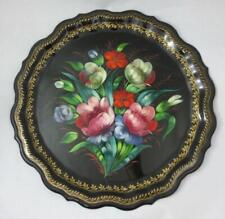 "Vintage Signed 14.5"" Hand Painted Floral RUSSIAN ROUND TOLE METAL TRAY Beautiful"