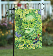 New Toland - Dryad Butterfly Welcome - Fairy Nymph Green Leaf Garden Flag