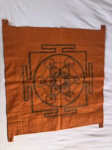 Happy Soul Yantra Esoterik 1er-Wand-Banner, ca 47x47cm, Orange, Meditation, Yoga