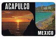 Mexico Acapulco 2 panel postcard Cliff Dive Diving