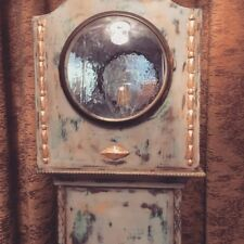 Blue, Grey & Gold up-cycled Vintage Grandmother Clock To Lamp, French Style