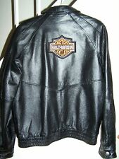 Harley patch on back of NEW mens size Medium black leather jacket by Wilsons