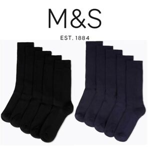 NEW M&S Cushioned Socks 5 Pairs Cotton Rich Full Length Mens Size 6-12 BR309