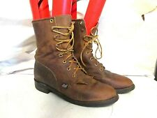 Men's Justin Kiltie riding paddock laceup western boots brown leather sz 7.5 B