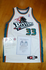 Grant Hill 99-00 Pistons Game Worn Used Home Jersey LOA