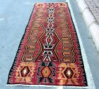 Turkish Motif Ruby Red Vintage Rug Nomadic Handmade Cappadocia Wool Rug 4x10 ft.