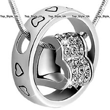 Heart & Ring Crystal Diamond Necklace Silver Xmas Gifts for Her Women Girls C3