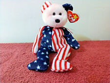 "Ty Original Beanie Baby ""Spangle"" the Cuddly Pink Faced Patriotic Teddy w/Tags"