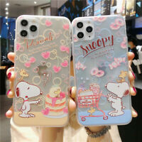 For iPhone 11 Pro XS MAX 7 8+ Cute Cartoon snoopy PEANUTS shockproof phone Case