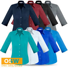 LADIES COTTON-RICH FRENCH STYLE Y-NECKLINE CORPORATE/BUSINESS/OFFICE SHIRT