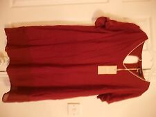 LADIES SHORT SLEEVED TOP SIZE LARGE VILA BURGUNDY BNWT