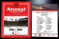 Arsenal v Burnley Premier League Programme With Team Sheet 22nd December 2018