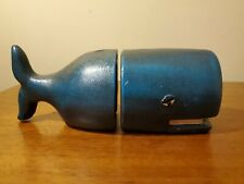 "9"" Metal Navy Blue Cast Iron Sperm Whale Bookends Book Ends"