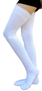 AM Landen®White Cotton Thigh High Socks Available in Size M, L and XL-Wide
