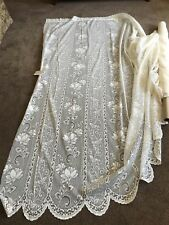Beautiful Majorca  Lace-FLORAL- by Nettex -213 cm Drop  -WHITE-Rod pocket