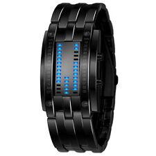 Luxury Men's LED Digital Stainless Steel Band Date Bracelet Sport Wrist Watches Black