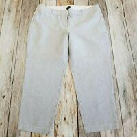 J CREW City Fit Womens 14 Seersucker Cropped Pants Capris Cotton White Black