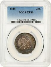 1818 25c PCGS XF40 - Bust Quarter - Colorful Toning
