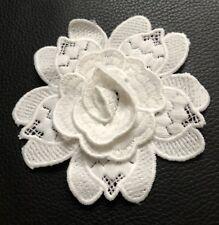 3D 2 Embroidered White Lace Flowers Motif Trim Applique Patch.