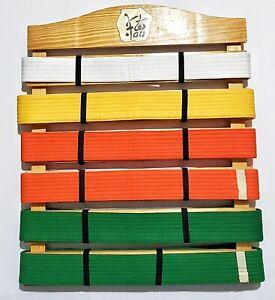 Karate Taekwondo Belt Display Wood Wall Rack Martial Arts 6    Holder w/ Belts