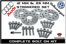 4 Pc Audi VW | 12MM & 25MM | Wheel Spacers | 5x100 5x112 | 14x1.5 Chrome Bolts