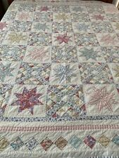 "Vintage Hand Crafted & Quilted Stars & Ocean Waves Quilt  82"" x 82"" Full #132"