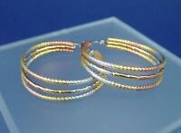 stainless steel round earrings in silver, gold and rose gold colors 1787
