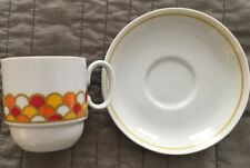 Georges Briard Mid Century Modern Vintage Cup/Saucer Pair Scallop/Scale Pattern