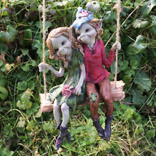 Pixie Couple Hanging on a Swing Fun Garden Resin Ornament Fairy Elf Gnome 39125
